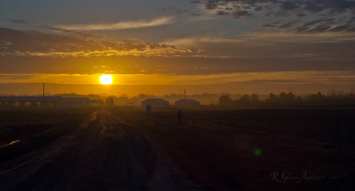 road mist clouds sunrise farm storage fireball groundfog
