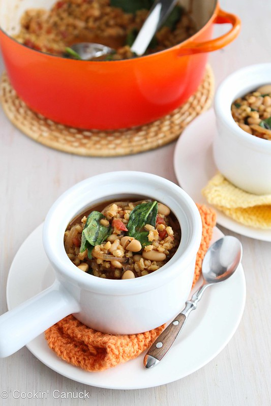 Barley Stew Recipe with Caramelized Onions, White Beans & Spinach by Cookin' Canuck
