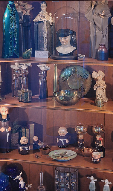 Old Saint Vincent Catholic Church, in Cape Girardeau, Missouri, USA - cabinet with memorabilia