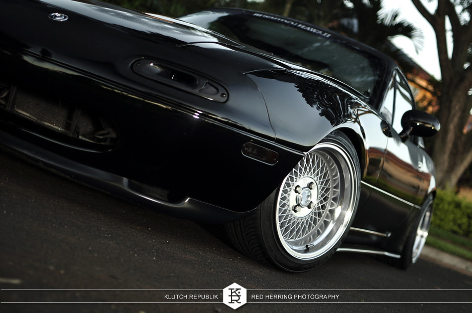 1997 black mazda miata kyb ground control klutch republik klutch wheels klutch motorsports sl1 15x8.5