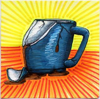 I drew you a broken blue mug of coffee