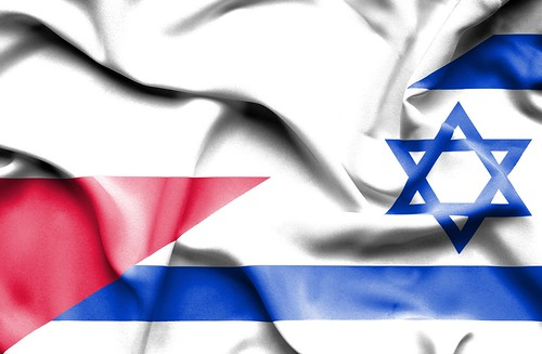 Waving flag of Israel and Poland