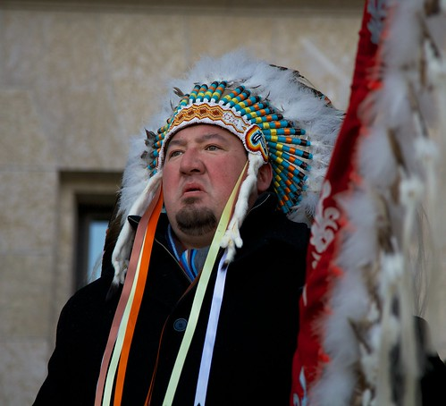 Derek Nepinak, Grand Chief of the Assembly of Manitoba Chiefs at the Idle No More rally at the Manitoba Legislature.