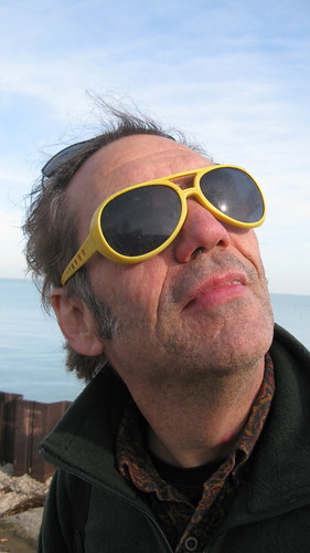 Anthony C having fun mugging for a photo with a pair of novelty sunglasses that he found.  Chicago Illinois.  Sunday, November 25th, 2012. by Eddie from Chicago