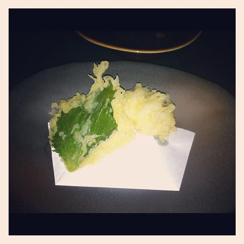IKYU's Cod Fish Sperm & Shiso Leaf Tempura