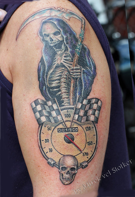 motorbike speedo tattoo by Mirek vel Stotker