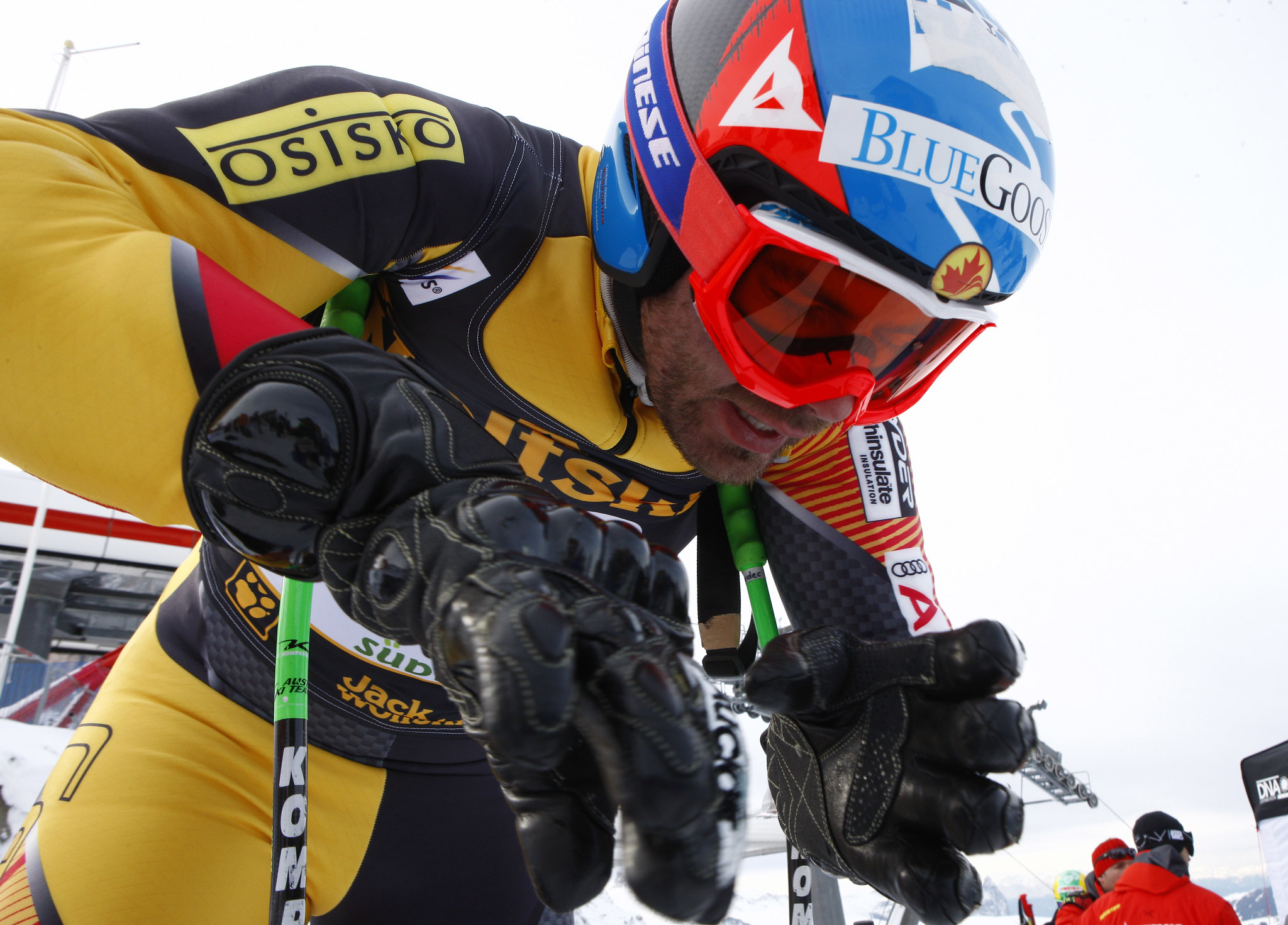 Jan Hudec prepares for  World Cup downhill training in Val Gardena, Italy.
