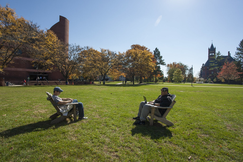 Adirondack chairs dotting Gettysburg's campus become popular study spots on sunny days.