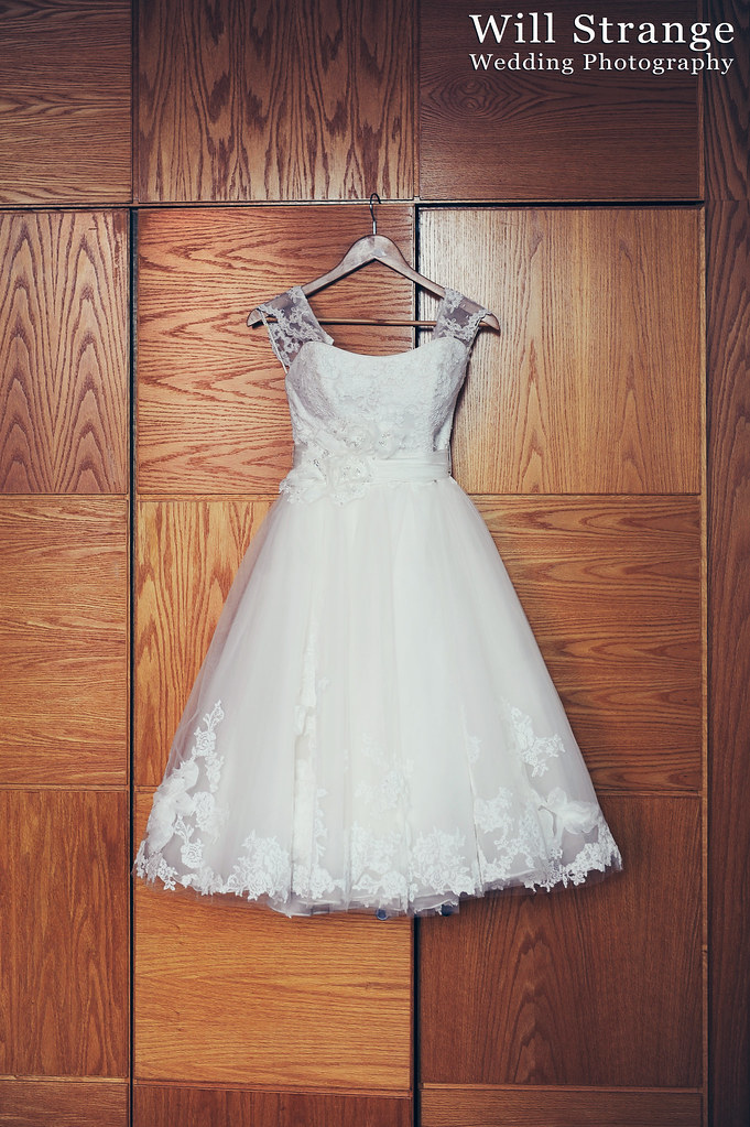 Claire's calf-length wedding dress