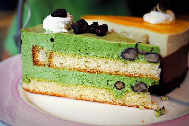 Green Tea and Red Bean Cake