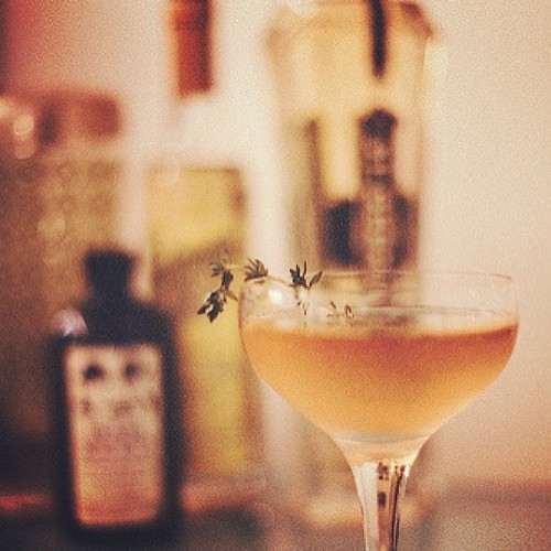 Recipe for my delicious St. Germain & Thyme recipe is up in the blog. Oh yeah, I own my own domain now! Heck yes: thebakingbird.com #stgermain #cocktail #mixology