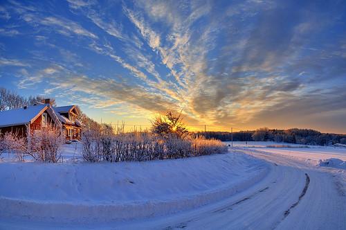 winter sky panorama snow sunrise landscape sweden hdr landeryd