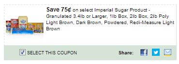 $0.75/1 Imperial Sugar Product - Granulated 3.4lb Or Larger, 1lb Box, 2lb Box, 2lb Poly Light Brown, Dark Brown, Powdered, Redi-measure Light Brown Coupon