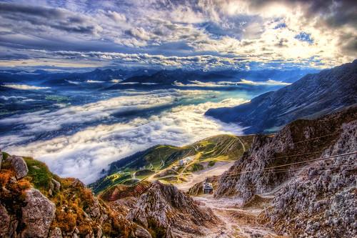 light sunset panorama mountain mountains alps cold colour nature car clouds landscape austria rocks europe view dusk path low scenic dramatic railway cable alpine distance exploration far hdr innsbruck nordkette bahen innsbrucker hafelekar nordketten