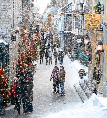 Quebec City Snowy Street @ Christmas Eve by Don Iannone