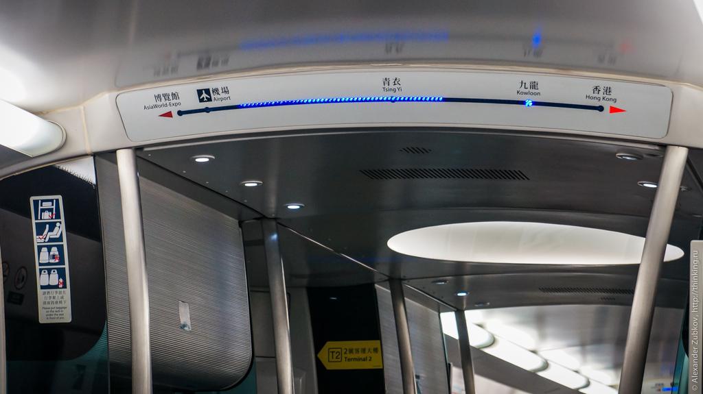 Индикация текущего положения поезда в Гонконге