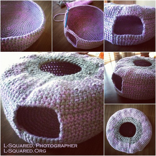 crocheting blind  crochet project  beds for kitties