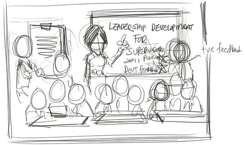Workshop group caricatures for Genentech (Roche) sketch - draft