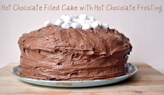 white fluffy cake with hot chocolate frosting