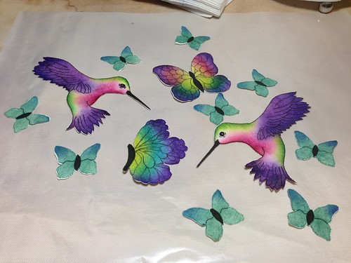 All the winged creatures are finished! Applique using melted crayon technique.