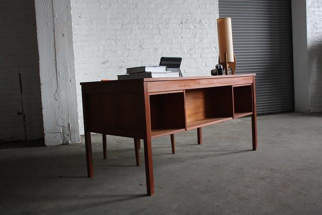 Pleasing Danish Mid Century Modern Domino Mobler Teak Desk (Denmark, 1950's)