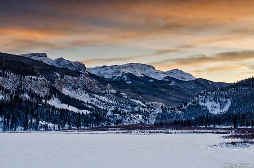 winter sunset lake mountains ice landscape frozen colorado lakecity sanjuanmountains lakesancristobal