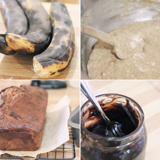 Banana Bread with Dark Chocolate Spread