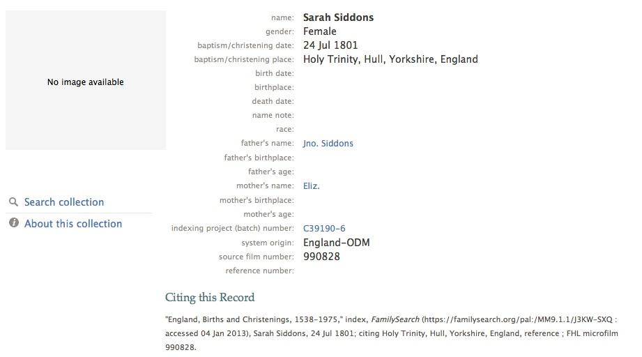 Sarah Seddon baptism