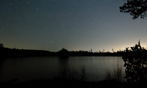 trees sky lake silhouette night reflections stars landscape lights sweden swedish astronomy universe