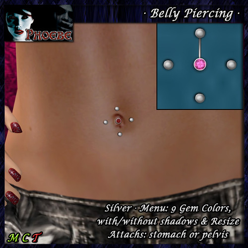 [$40L PROMO] *P* Belly Piercing M2 ~Silver-9 Gem Colors~