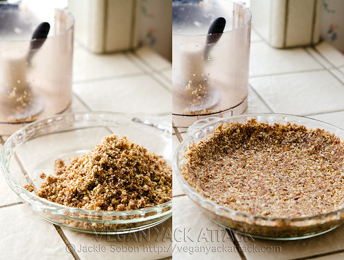 Pressing almond crust into pie dish