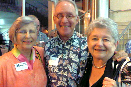 <p>Former University of Hawaii at Manoa Chancellor Virginia Hinshaw, left, and Mitch D'Olier of Kaneohe Ranch, center, attended the Manoa Forum with University of Hawaii President M.R.C. Greenwood on January 14, 2013.</p>