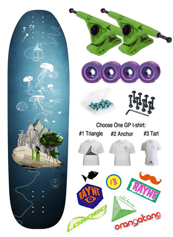 Greener Pastures Rayne Longboards Fortune P swiss pro model complete
