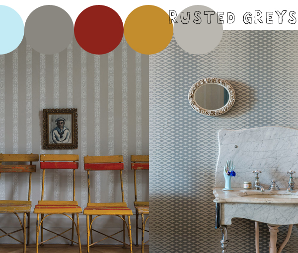 Latest and Greatest, Rajah Stripe and Lattice wallpapers from Farrow & Ball