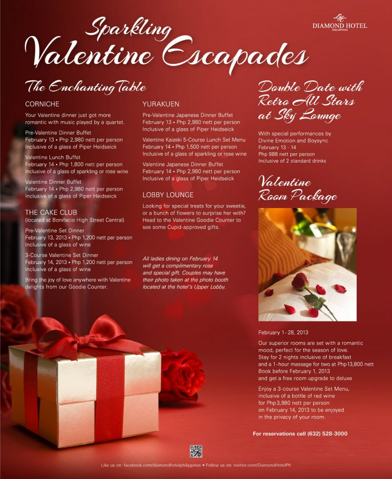 valentines day 2013 at diamond hotels corniche the cake club and yurakuen - Valentine Day Hotel Specials