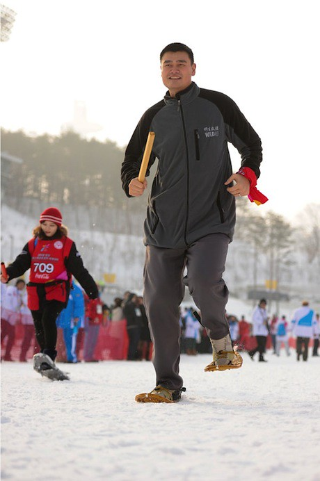 January 30th, 2013 - Yao Ming participates in a snowshoe relay at the Special Olympics Winter Games in Korea