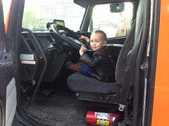 Logan wanted to drive the moving truck.