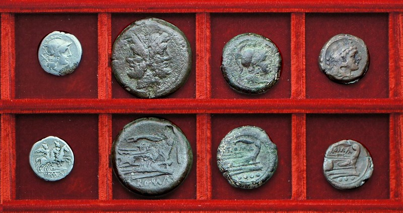 RRC 120 knife denarius and bronzes, Ahala collection, coins of the Roman Republic