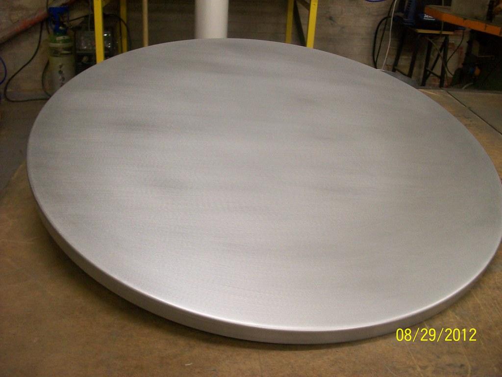 3   Wrapped Circular Zinc Table Top Satin Finish