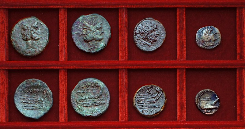 RRC 339 semuncial bronzes various styles, Ahala collection, coins of the Roman Republic
