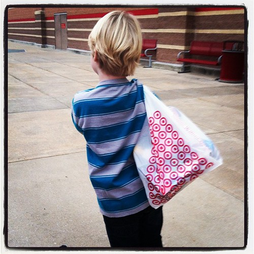 One happy little shopper...shopping for his brother:)