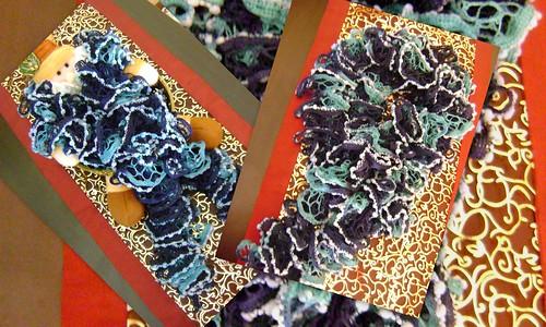 Cachecol em Linha Teia em Tons de Azul by Ana Tarequita