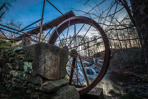 mill landscape waterfall unitedstates northcarolina wideangle waterwheel valdese mcgalliardfalls