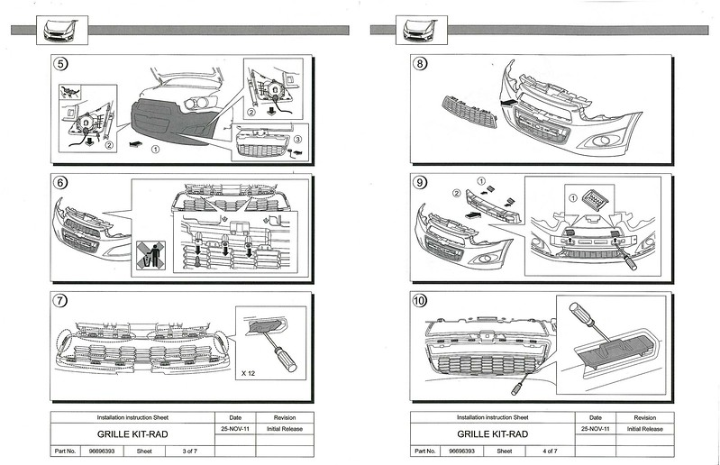 service manual  diagram of removing a grill from a 1996