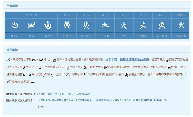 火、灬/象形文字/字形演變/造字解說/說文解字