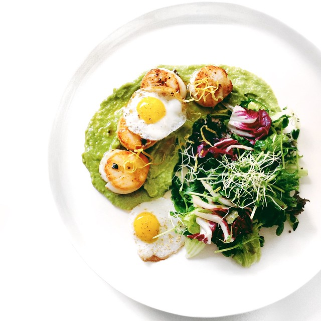 Pan-Seared Scallops with Avocado Puree, Burnt Butter and Quail Eggs