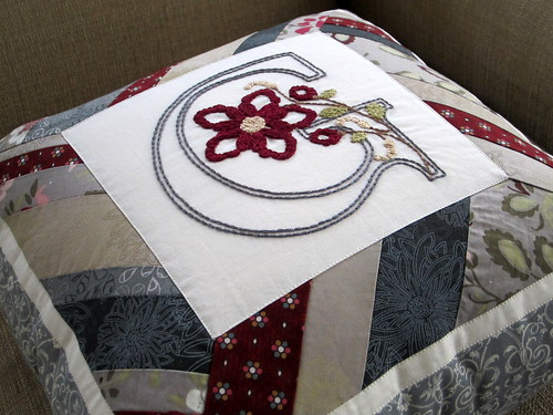 Embroidered G Pillow
