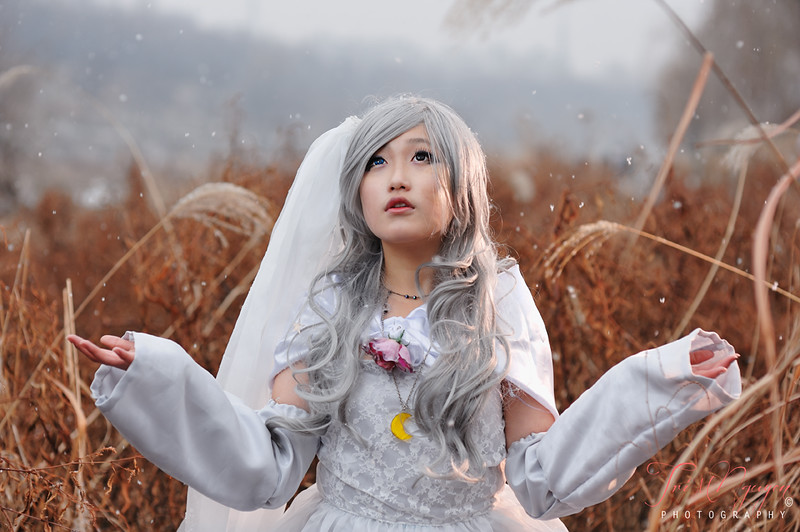 Cosplay with falling snow