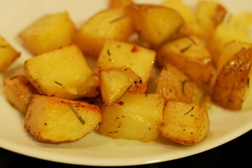 Duck fat roasted potatoes with garlic & rosemary by Eve Fox, Garden of Eating blog, copyright 2012