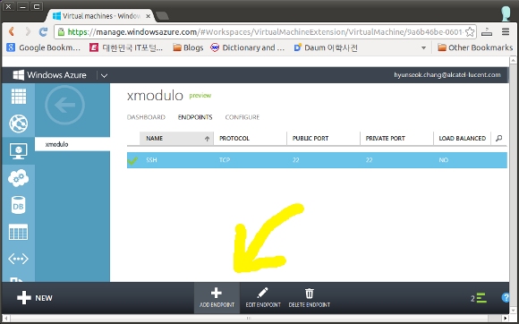 Add an Endpoint on Windows Azure VM